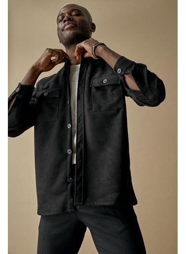 DeFacto Suni Süet Overshirt Gömlek Siyah